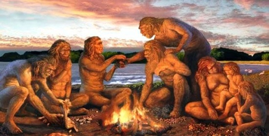 early-man-using-fire